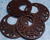 Laser Cut Wood Pendant with Lotus 38mm - 2pc