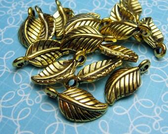 Gold Leaf Charm 14x7mm - 10pc
