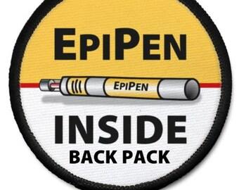 EpiPen Inside Back Pack Medical Alert Warning Black Rim Patch Choose Size and Rim Color