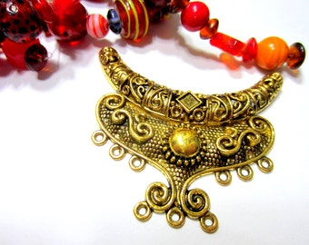 2 Antique gold Pendant charm  gypsy jewelry enhancer LG 64mm x 40mm  boho chic 522ab(SR)
