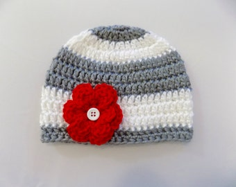 Baby Girl Hat, Gray and Red Hat, Baby Girl Beanie, Baby Clothes, Hat with Flower