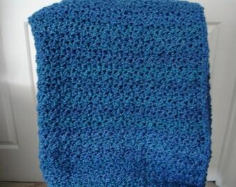 Blue Afghan Throw Blanket