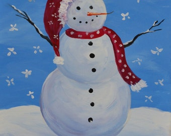 SNOWY MAN 16 x 20 Acrylic on canvas