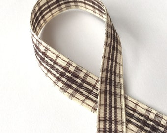 5 Yards of 5/8inch (15mm) Brown, Cream Gingham Plaid Ribbon for Jewelry, Accessories, Clothing