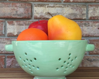 Handcrafted Ceramic Macon Georgia Wild Field Mint Berry Bowl and Pasta Colander