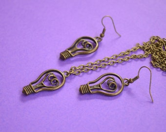 Light Bulb Necklace and Earrings Set Antique Bronze Electricity Bright Idea! (AB24)