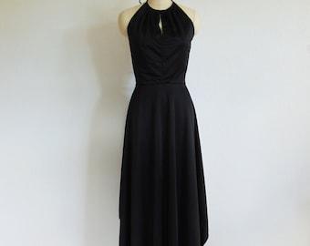 70s black DISCO halter top gown size medium