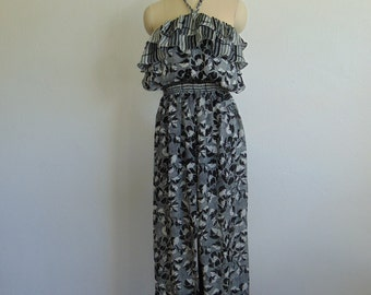80s Diane Fres JUMPSUIT in black and white with ruffles size medium