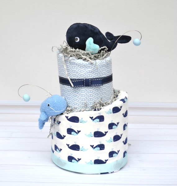Whale Baby Shower, Whale Diaper Cake, Nautical Baby Shower, Whale Baby Gift, Cake Table Decorations, Nautical Shower Centerpieces