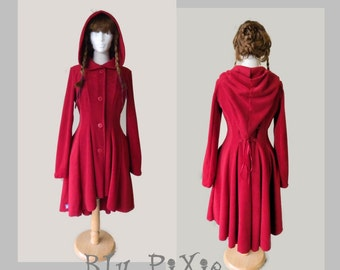 The Rose Women's Full Length Fleece High Low Jacket, Cinched Waist Corset Lacing Coat, Asymmetrical Hemline, Victorian Romantic