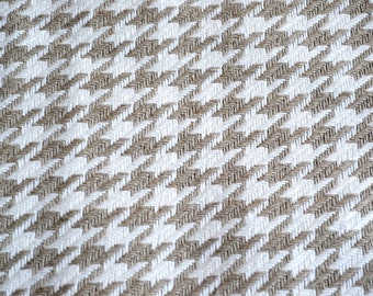 Kravet Fabric - Houndstooth Woven Upholstery Taupe White - 25 x 25 Sample Size
