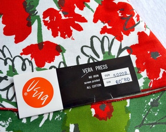 Vintage Vera Tablecloth - Red and Green Floral - NOS 60 inch Round