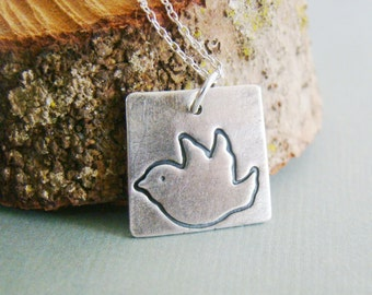 Metal clay bird square sterling silver necklace, teenage daughter, sweet 16, young adults