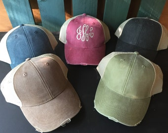 Personalized Khaki Distressed Mud Trucker Hat Monogrammed Unisex Hats Red Available in 5 colors