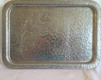 Vintage Rodney Kent Stamped Aluminum Tulip Tray
