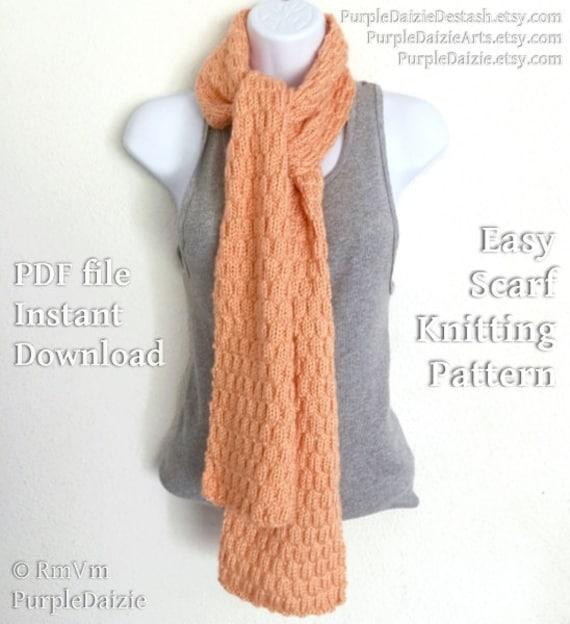 Knitting Tutorial For Beginners Pdf : Knitting pattern pdf textured scarf beginner knitter easy