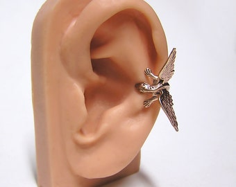 Bronze Dragon Ear Cuff, dragon body wrap around ear (br)