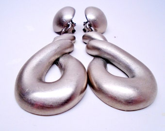 "Vintage Modernist 3"" Brushed Stainless Steel Earrings Matt Twisted Silver Dangles 1980s Mod Art Deco Modern High End Clips Runway Statement"