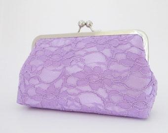 Bridal Silk And Lace Lavender Clutch,Bridal Accessories, Bridal Clutch, Bridesmaid Clutches