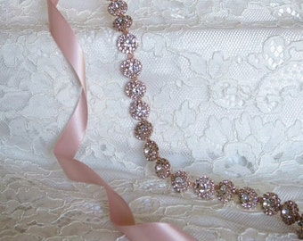 Rose Gold Crystal Rhinestone Bridal Sash,Wedding sash,Belts And Sashes,Bridal Accessories,Bridal Belt and sashes,Ribbon Sash,Style # 23