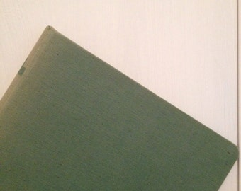 3 ring binder seafoam green canvas cloth linen back to school vintage