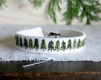 Evergreen Tree Cuff Bracelet - Hand Embroidered Textile Art Jewelry - Rustic Woodland Cuff Bracelet