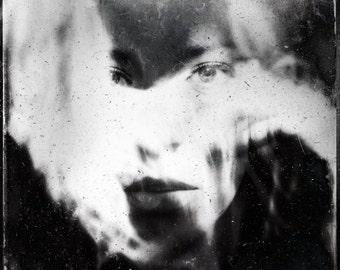 surreal portrait, creepy portrait, woman spooky photo, illusion conceptual portrait, woman face home decor, fine art dark fantasy ghost bold