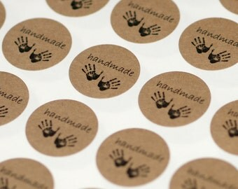 Handmade Stickers ... 60 Kraft Stickers One Inch Grocery Bag Brown Self Adhesive Packaging Supplies Seller Supplies Rustic Handprints