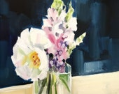 Olive Jar Arrangement • original artwork oil painting 6x8""