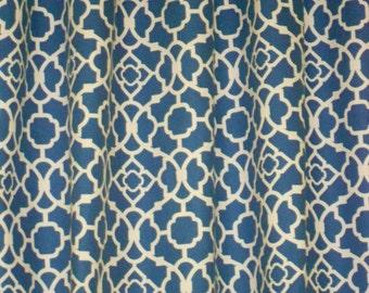Waverly lovely lattice drapes, pair, two 50W panels, Waverly curtains, lapis blue drapes