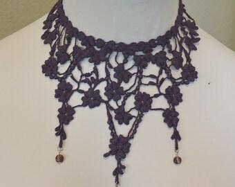 Plum Collar Choker with Super Long Spider Teardrops Victorian Country Design Purple Wearable Art Elegant, Romantic Dinner Evening Wear