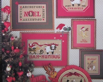 Christmas Puns/Counted Cross Stitch Patterns by Karens Creations/1989/Adorable Christmas Samplers/Wall Hangings/Holiday Needlecraft
