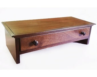 Large Mahogany Hardwood Computer Monitor Stand and Desk Organizer with Drawer
