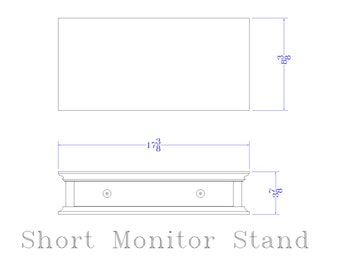 CUSTOM WHITE  1 Drawer Low Monitor stand
