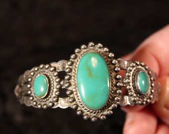 Vintage Turquoise Cuff Bracelet - Signed