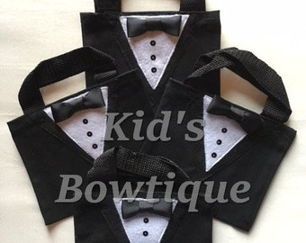 10 Tuxedo Party Bags -  Tuxedo Wedding Party Gift Bags - Unique Formal Tux