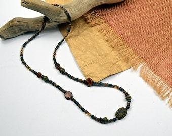 Boho Wrap.. Hunter Green, Butterscotch, Beaded Necklace, Wrap Bracelet