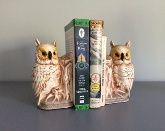 Vintage Pair of Ceramic Owl Bookends