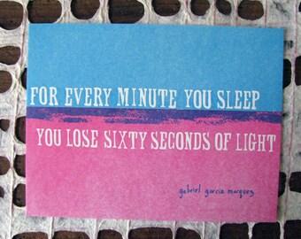 Single Letterpress Postcard 60 seconds of light