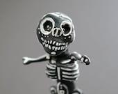 ON SALE Cemetery Folk Artwork - Skeleton Boy Figurine - Halloween Decoration -Sale