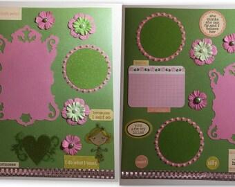 Princess Scrapbook 2 Page Set Pink and Green 12x12