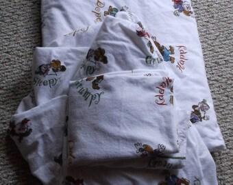 SALE Disney Seven Dwarfs Twin Flannel Sheet Set