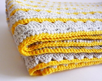 SALE - Crocheted Blanket Organic Cotton- Yellow and Gray