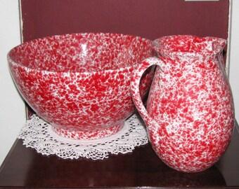 Beautiful Itallian ceramic pitcher and basin set