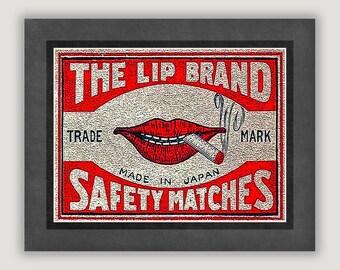 Unique Wall Art, Vintage Ad Print, Lip Brand Matches, unique home decor, bar art, funny dorm poster, grey and red, Japanese matchbox art