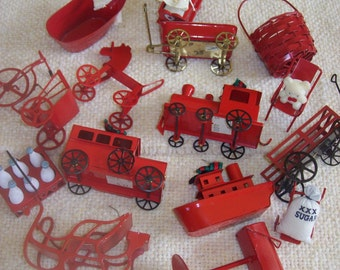 Lot of 15 Red Metal Midwest Importers Ornaments or Miniatures