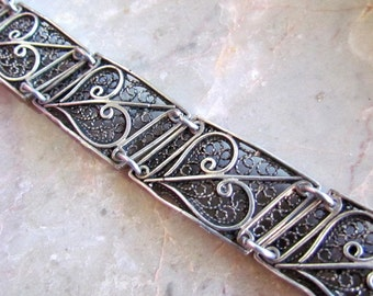 Sterling Silver Filigree Heart Panel Bracelet