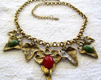 Vintage 1928 Jewelry Co. Ivy Leaf Necklace with Faux Coral & Jade