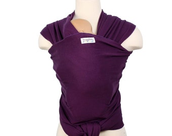 Baby Carrier - Plum Purple - Hybrid Stretch Wrap - Comfortably Carry Newborn to Toddlers On Your Front Or Back - 100% Cotton