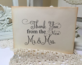 Thank You From The New Mr. and Mrs. Card Wedding Thank You Card Bride and Groom Black and Ivory Card   ECS